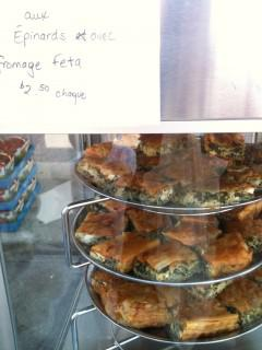 Superb spanakopita is sold fresh by the slice or frozen in a larger portion